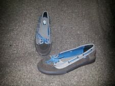 VANS ABBY-Brown Suede and Denim w/Turquoise Ties-Sz 7.5M-Near Mint