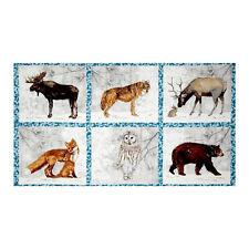 "Wildlife Moose Wolf Owl Cotton Fabric Robert Kaufman Winter White 24""X44"" Panel"