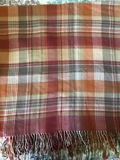 Pottery Barn Blanket Throw Knotted Fringe Brick Red Rust Home Decor Plaid 50x50