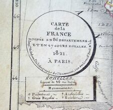 Alt-et grenzkolorierte cuivre pli carte de France, Henri Selves, 1821