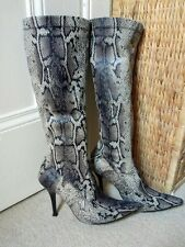River Island faux snakeskin stiletto pull on boots 6 39