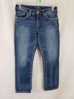 Silver Natsuki Capri Womens Denim Blue Jeans Size 30 Cropped Med Wash Mid Rise