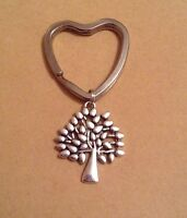 Silver Tone Mulberry Tree Charm & Heart Shape Keyring. Valentine's Day Gift Idea