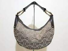 GUCCI CRESCENT HORSEBIT CANVAS BAMBOO RING HOBO / SHOULDER BAG - AUTHENTIC