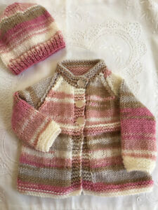 * Premature * 2 Piece Baby/Dolls Jacket Set * Multi Colours * Aust Hand Knitted