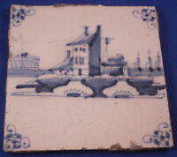 Antique 18thC Delft Blue White Scenic Eartheware Tile Netherlands Holland Dutch