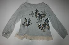 New NEXT UK Girls Heather Gray Butterfly Sequin Lace Hem Top 3T 4T 104cm NWT