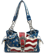 Cowgirl Trendy Western USA American Flags Purse Handbag Messenger Shoulder Bag