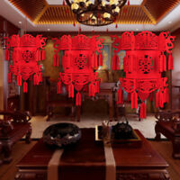 Red Chinese Hanging Lantern Good Luck Charms Knots Tassels Auspicious  W F F D