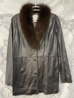 Chadwick's Leather Jacket with Genuine Fox Fur Collar Women's Size Large Brown