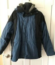Cabela Winter Jacket Dry Plus Blue Black Xl Removable Fleece Lining Hood