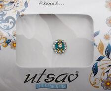 Bindi bijoux de peau front ht de gamme rond fleur strass 11mm bleu ING B 3651
