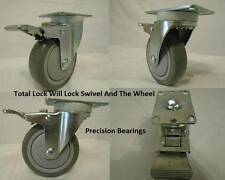 "4"" x 1-1/4"" Swivel Casters Polyurethane Total Lock Brake 400lb each (4) Tool Box"