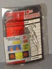 "G1 Transformer Autobot Jumpstarter Topspin Factory Sealed ""Manual/Decal Baggie"""