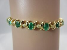 14K Yellow Gold Colombian Emerald and Diamond Bracelet 4.50 Carats