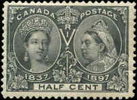 1897 Mint LH Canada F+ Scott #50 1/2c Diamond Jubilee Stamp Issue
