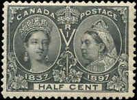 1897 Mint Canada F+ Scott #50 1/2c Diamond Jubilee Stamp Issue (Light) Hinged