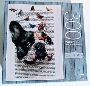 "MB Coco de Paris 300 pc Puzzle - ""Bulldog with Butterflies"" - Brand New  24""x18"""
