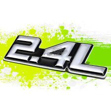 """BLACK """"2.4L"""" SILVER LETTER LOGO TRIM BADGE METAL EMBLEM DECAL EXTERIOR STICKER"""