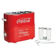 Coca-Cola 2-Slice Red Hot Dog Toaster Pop Up Two Hotdog Buns Cooker Machine Cage