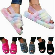 Fluffy Fur Sliders Slippers Slip On Flat Sandals Mules Shoes Womens UK3.5-8 Size