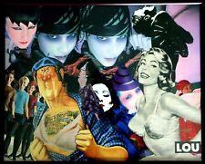 Collage rétro vintage sur bois, encadré sous verre 50x40 cm - Lou