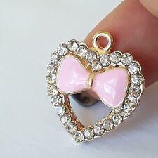 1pc Pink Enamel Bow & Rhinestone Heart Charm Gold Plated 20x18mm - B65232