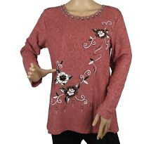Women's Floral Embroidered Long Sleeve Blouse Top New