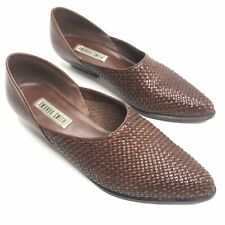 """Amanda Smith Brown Woven Leather Boot Shoes Slip On Size 7.5"""" M Brazil"""
