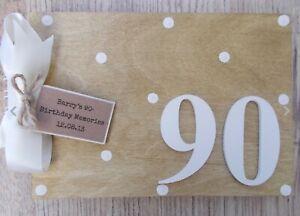 Personalised 90th Birthday Memories Wooden Scrapbook Photo Album Guest Book Gift