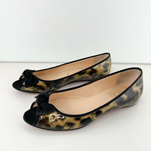 Christian Louboutin Women's Sz 38 US 8 Patent Leather Leopard Glossy Flats