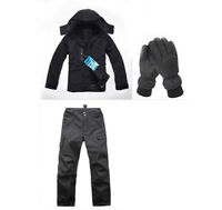 E12 Men Black Ski Snowboard Winter Waterproof Jacket Pants Gloves S M L XL XXL