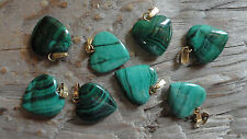 Malachite Heart Cabochons with Gold Loops 14-15mm Medium (pkg of 8)