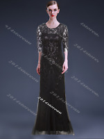 Black 1920s Flapper Dress Vintage Gatsby Size 8 10 12 14 Long Prom Evening Party