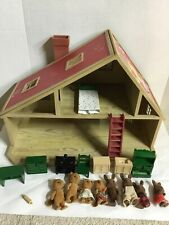 VTG 1985 Sylvanian Families Calico Critters House Epoch W/Animals & Furniture