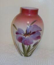"Antique Bristol Glass Vase - Floral Decoration - 10"""
