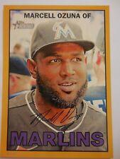 2016 Topps Heritage Baseball 5x7 Gold 5/10 373 Marcell Ozuna Marlins