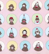 Moda 5 Funky Sock Monkeys Yearbook Pink Flannel Fabric BHY