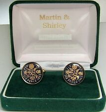 1963 6D cufflinks from real coins in Blue & Gold