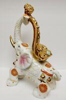 "VTG Chinese Asian Elephant Porcelain Statue Figurine Ceremonial Gilded 16""x10"""