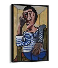 PABLO PICASSO THE SAILOR -FLOAT EFFECT CANVAS WALL ART PIC PRINT- BROWN