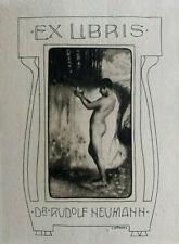 Heinrich HÖNICH (D) Male Nude Man Exlibris Dr. Rudolf Neumann c1910 Jugendstil