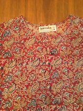 Vintage Fabindia Womens Shirt MED red Hippie Paisley Boho Blouse Cotton India