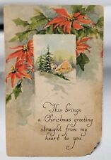 Vintage 1924 Holiday Merry Christmas Postcard Greeting card snow poinsettias