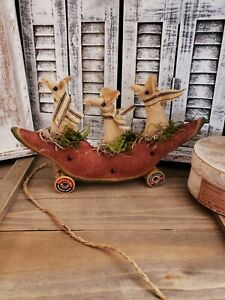 Handmade Primitive Watermelon Mouse Pull Toy