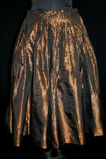 COLLECTABLE  1950'S BRONZE SILK TAFFETA BLACK VELVET POLKA DOT PLEATED SKIRT 28""