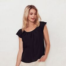 NWT LC Lauren Conrad Pleated Blouse Top Lace -Black S