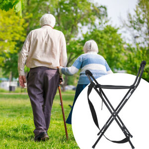 Portable Walking Chair Stick Cane Folding Stools Lightweight With Seat Elderly