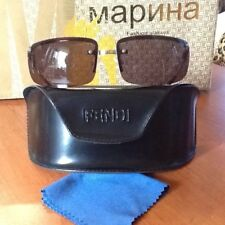 FENDI Sunglasses MOD.SL 7340 66 Silver Metal Frame and Brown Lens Made in Italy