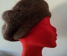 NEW ANTHROPOLOGIE BROWN & SILVER ANGORA BERET size Medium
